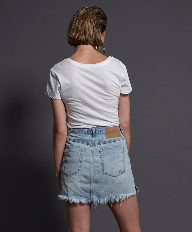 ONETEASPOON Montana Blue 2020 Mini High Waisted Denim Skirt