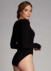 C'EST MOI Bamboo V-Neck Long Sleeve Bodysuit