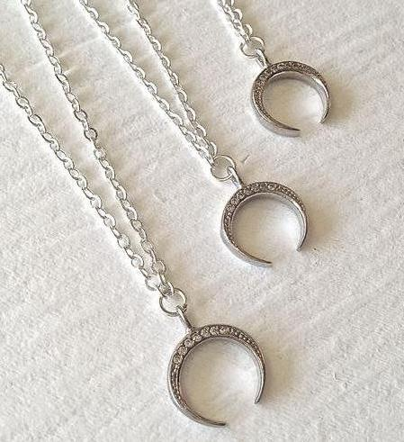 PIKA & BEAR Inanna Pave Crescent Necklace