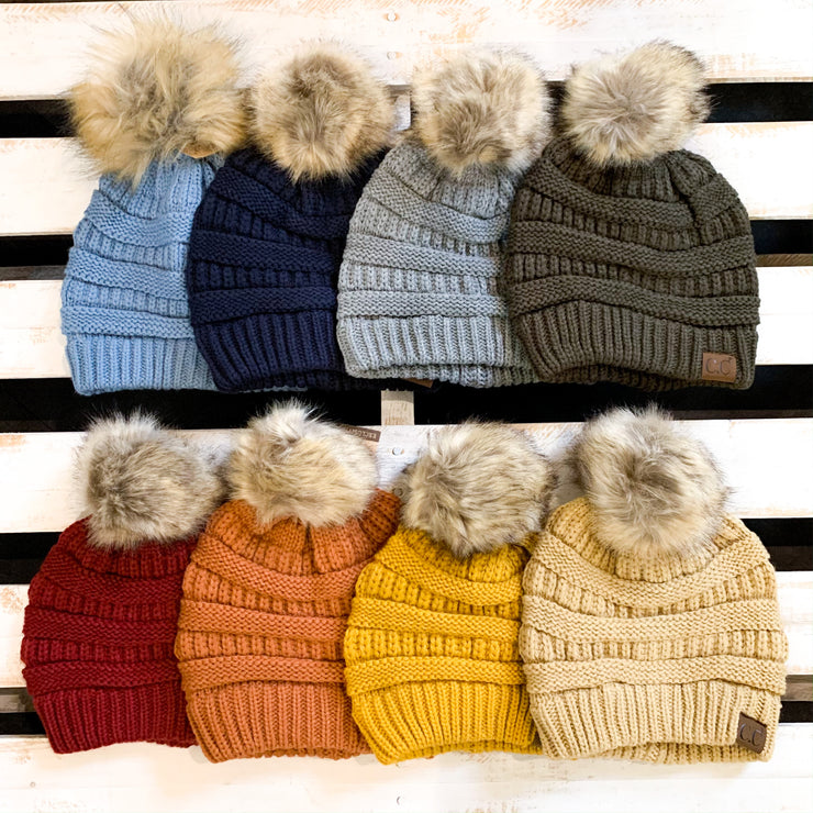 Colorado Chick Faux Fur Pom Pom Toque