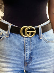 "27 ""It's A G Thang"" Belt - Medium Worn Gold Buckle"