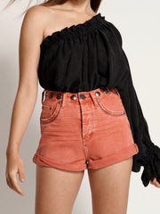 ONETEASPOON Studded Bandits High Waist Denim Short