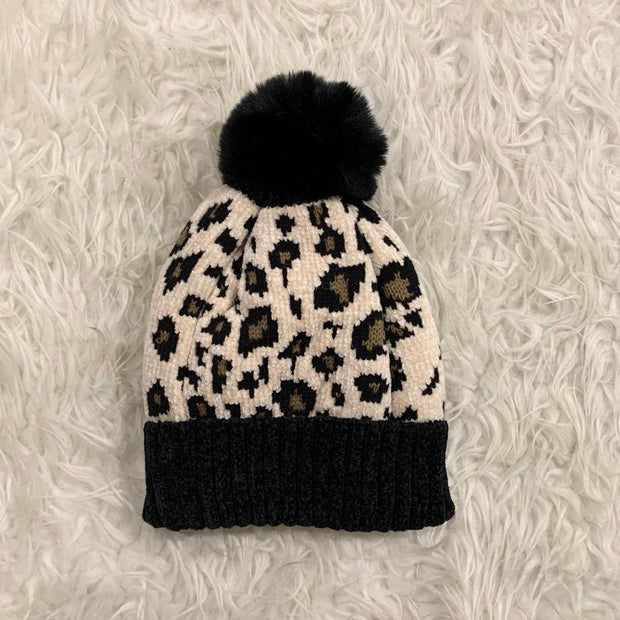 TWENTYSEVEN the label Fleece Lined Leopard Chenille Toque