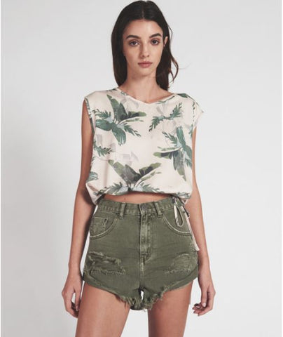 OneTeaspoon Super Khaki High Waist Bandits Shorts