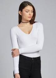 C'EST MOI Bamboo Long Sleeve V-Neck Top
