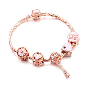 Bracelets Luxury Crystal Rose Gold Chain Heart Flower Tassel Pendant Bangles For Women Girl DIY Design Snake Chain Charm Jewelry
