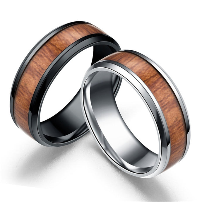 Men Rings Delicate Wood Inlay Titanium Steel black Silver Ring Men Luxury Engagement Wedding Ring Trendy Handsome Jewelry Gifts