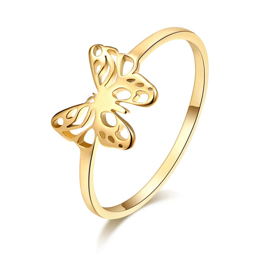 DOTIFI Women's Luxury Cutout Exquisite Butterfly Ring Gold and Silver Color 316L Stainless Steel Fashion Jewelry Party Gift E59