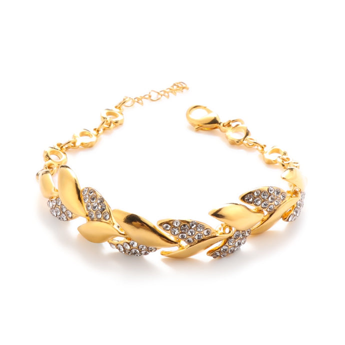 2020 Braided Gold Color Leaf Bracelets Women Bangles With Luxury Crystal Stones Bangles For Ladies Wedding Jewelry New Fashion
