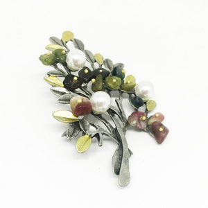 Vintage Natural Stone Pin Men And Women Suit Brooch Costume Christmas Tree Brooch Luxury Designer Jewelry For Women