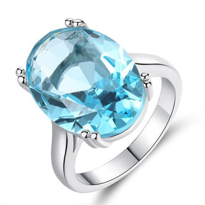 Morden big Blue Stone Ring For Women Wedding Gift Luxury Jewelry Silver Color Rhinestone Cubic Zirconia Ring women's jewelry