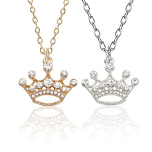 Load image into Gallery viewer, Fashion Luxury Crystal Openwork Crown Necklace Personality Gold Silver Princess Pendant Couple Necklace Ladies Jewelry Gift
