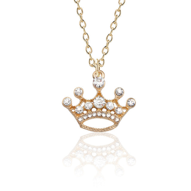 Fashion Luxury Crystal Openwork Crown Necklace Personality Gold Silver Princess Pendant Couple Necklace Ladies Jewelry Gift