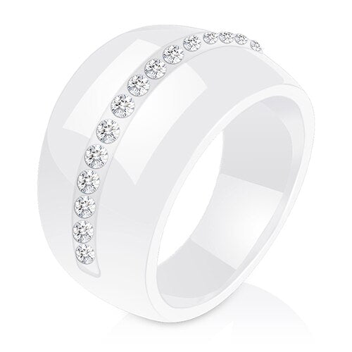 Luxury Romantic Clear Black And White Ceramic Ring Jewelry For Women Accessories Fashion Jewelry Ring With Bling Crystal