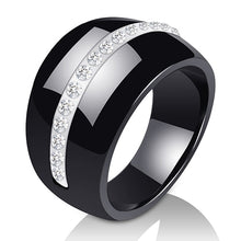 Load image into Gallery viewer, Luxury Romantic Clear Black And White Ceramic Ring Jewelry For Women Accessories Fashion Jewelry Ring With Bling Crystal