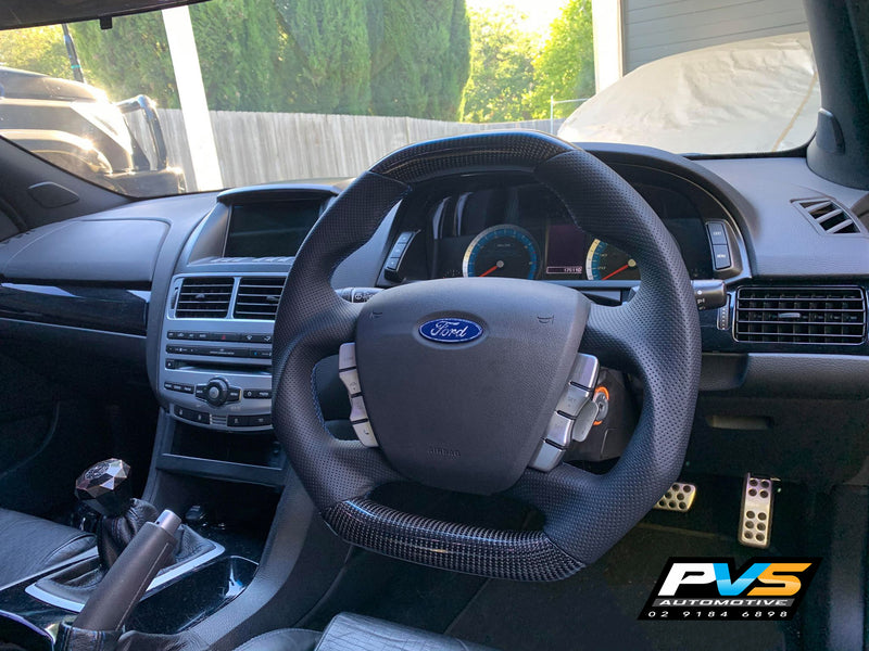 Traditional Carbon Fibre Steering Wheel to suit Ford Falcon FG/X