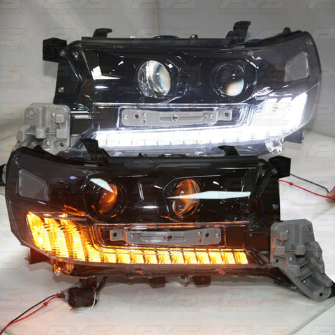Black High Performance LED Replacement Headlights (Pair) to Suit Toyota LandCruiser 200 Series