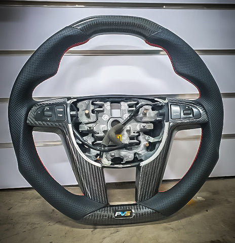 Elite Carbon Black Leather/Perforated Sides Steering Wheel Kit suitable for Holden VE Commodore