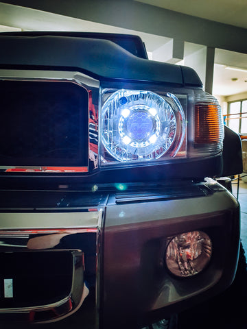 Chrome HID Replacement Headlights to Suit Toyota LandCruiser 70 Series ADR