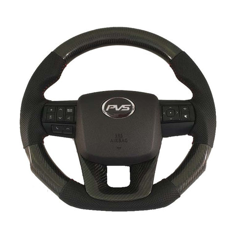 Elite Flat Bottom Carbon Black Perforated Leather Steering Wheel suit Toyota N80 Hilux 2015+