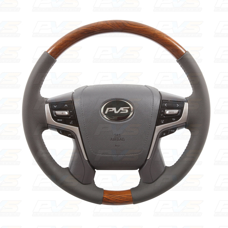 Basic Grey Leather with Wood Grain Steering Wheel suit Toyota LandCruiser 70