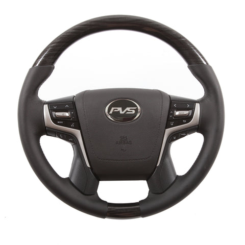 Basic Black with Graphite Wood Leather Steering Wheel to suit Toyota LandCruiser 70 200