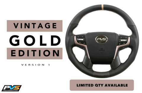 Vintage Gold Edition Leather Steering Wheel suit Toyota LandCruiser 70 200
