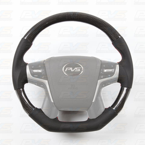 Elite Flat Bottom Carbon Black Perforated Leather Steering Wheel suit Toyota LandCruiser 70 200