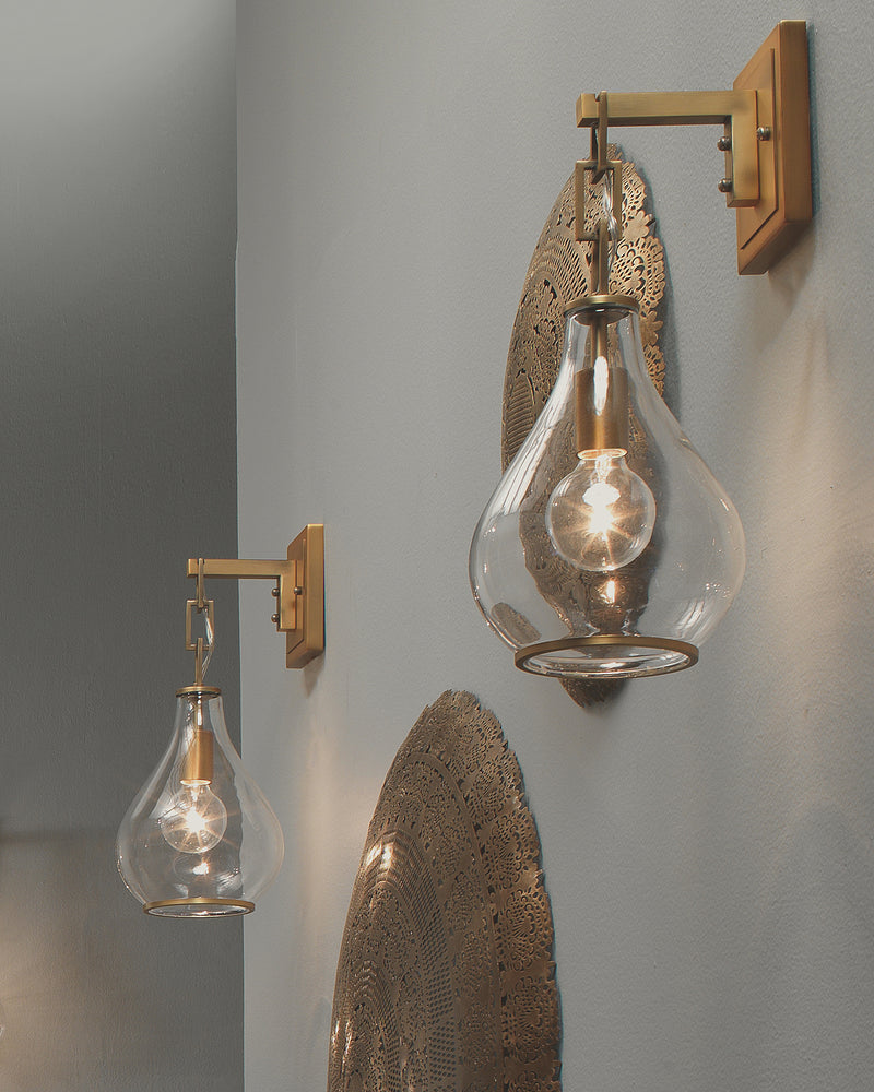 tear drop hanging wall sconce