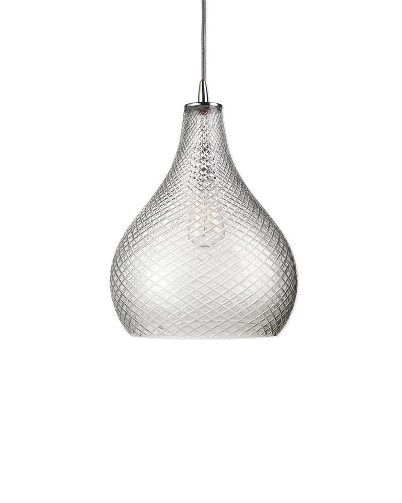 large cut glass curved pendant