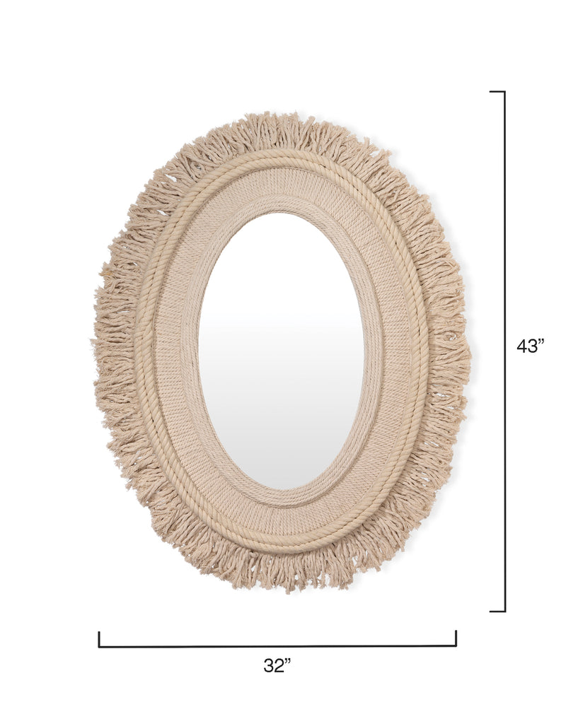 fringe oval mirror