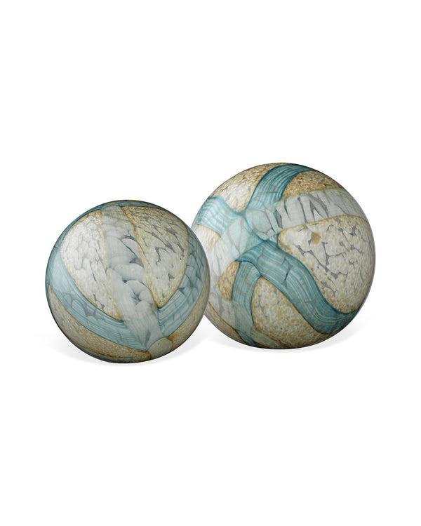 Pale Blue Cosmos Glass Spheres (set of two)