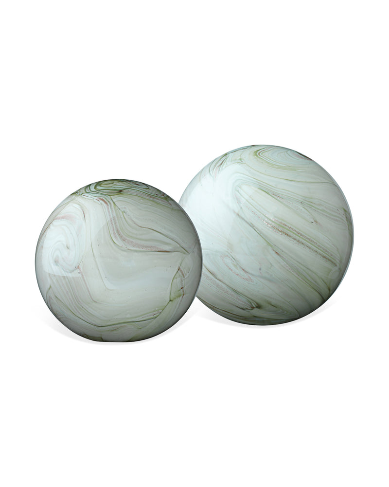 sage swirl cosmos glass spheres (set of two)