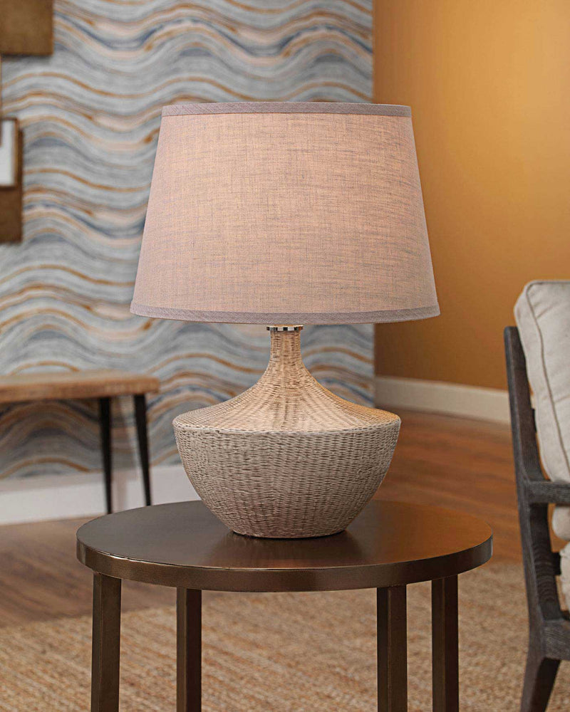 basketweave table lamp