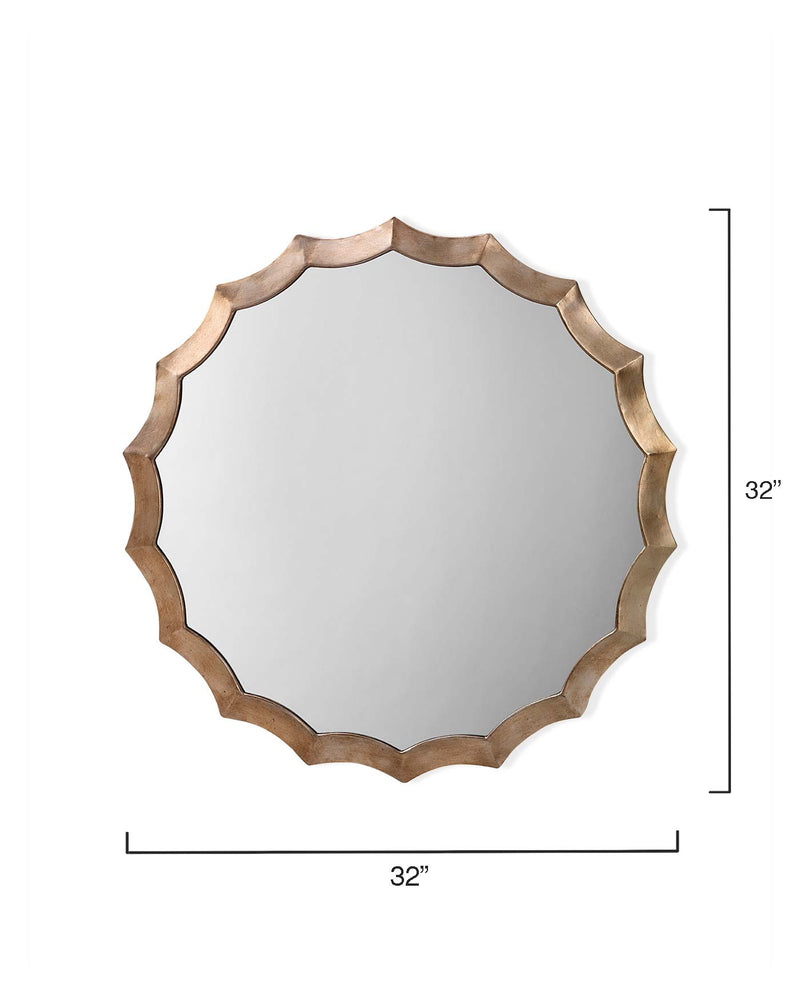 round scalloped mirror