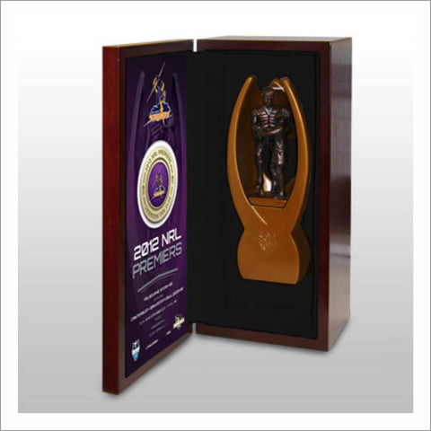 Melbourne Storm 2012 Premiership replica NRL trophy with presentation box