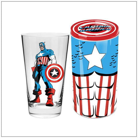 CAPTAIN AMERICA Collector Glass in Tin