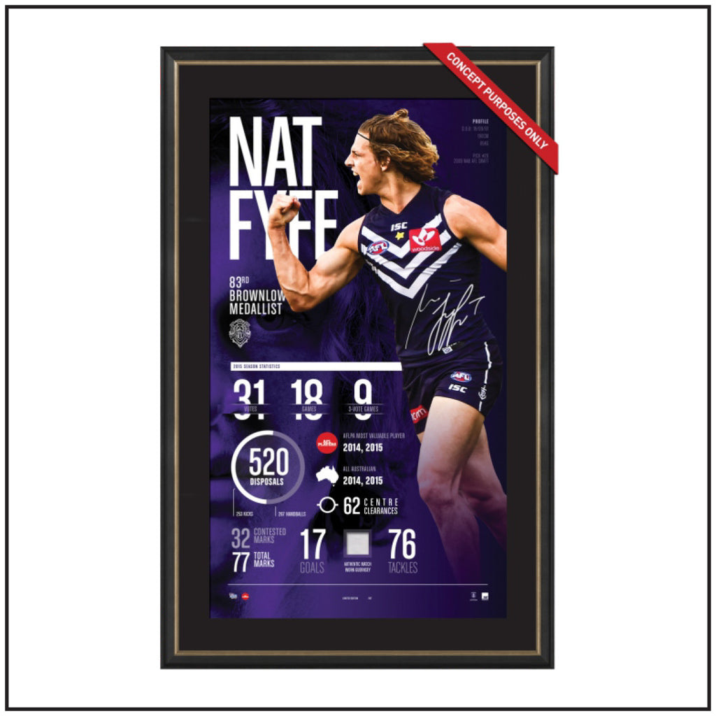 NAT FYFE 2015 BROWNLOW SIGNED INFOGRAPHIC