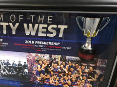 WESTERN BULLDOGS 2016 PREMIERS HALF-CUP FRAMED DISPLAY - SIGNED!