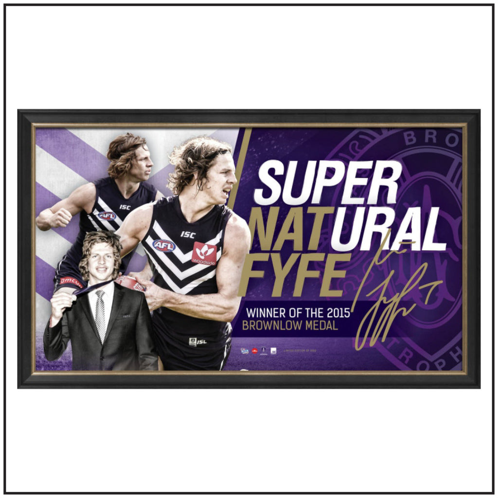 NAT FYFE FRAMED BROWNLOW SPORTSPRINT