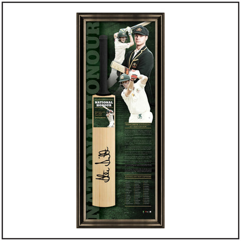 NATIONAL HONOUR – STEVE SMITH SIGNED FRAMED 45th TEST CAPTAIN BAT