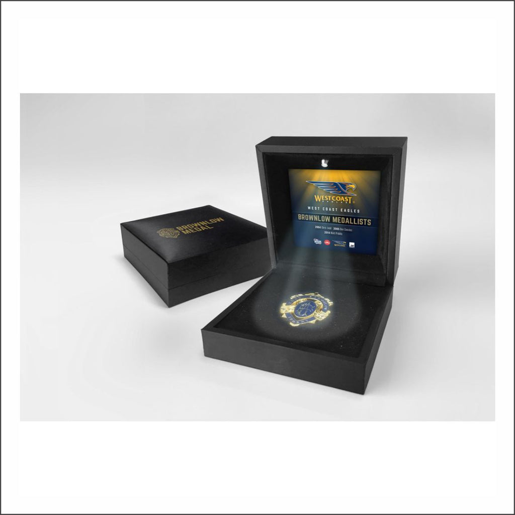 WEST COAST EAGLES BOXED BROWNLOW MEDAL W/ LED LIGHTING DISPLAY