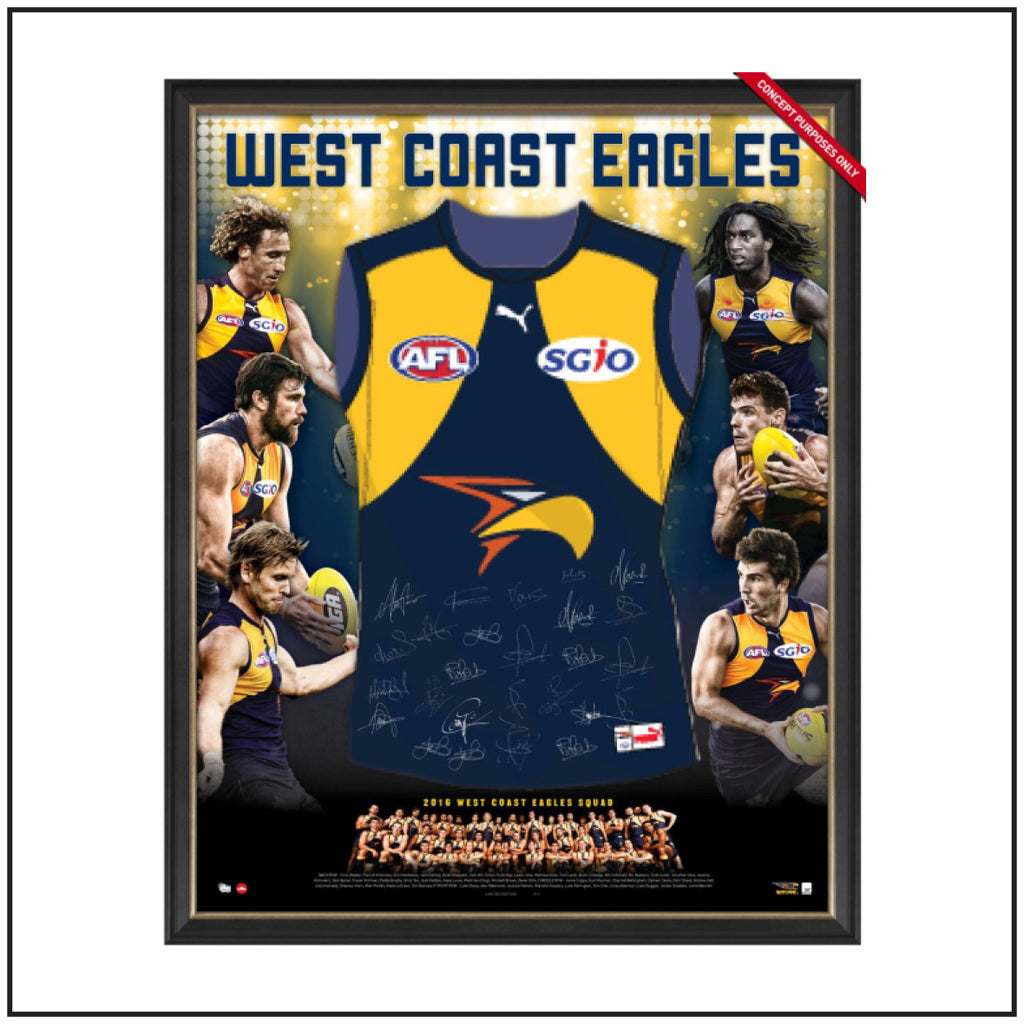 WEST COAST EAGLES 2016 TEAM SIGNED GUERNSEY