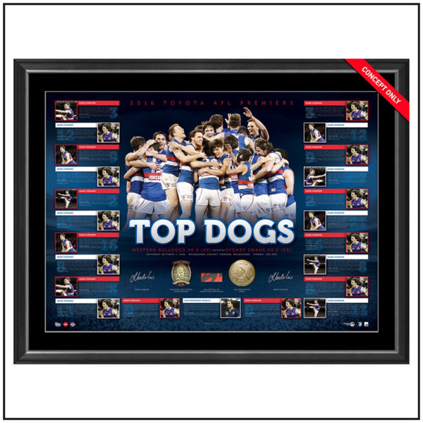 WESTERN BULLDOGS 2016 PREMIERS DUAL SIGNED LITHOGRAPH