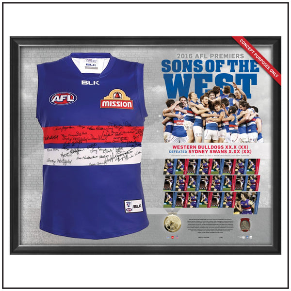 WESTERN BULLDOGS 2016 TEAM SIGNED PREMIERS GUERNSEY