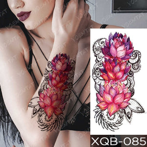 Snake Flower Rose Flash Tattoos Lace Temporary Sleeve Tattoo