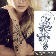 Load image into Gallery viewer, Snake Flower Rose Flash Tattoos Lace Temporary Sleeve Tattoo