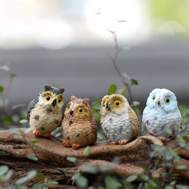 OOTDTY Resin Ute Owl Mini Dollhouse Bonsai Craft Garden Ornament DIY Plant Pots Fairy Garden Patio decor Drop Shipping