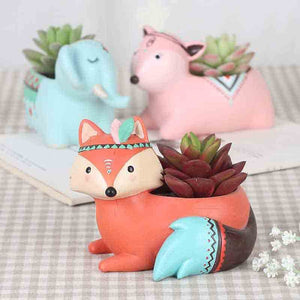 Cute Cartoon Animal Bonsai Pot Flowerpot Resin Craft Succulent Plant Vase Fox Elephant Deer Bear Rabbit Planter Pot Home Decor