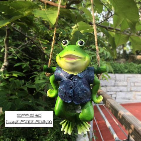 Creative Cute Frogs Cat Dog Resin Lying Santa Claus Statue Garden Hang On Tree Decorative Pendant Indoor Outdoor Decor Ornament